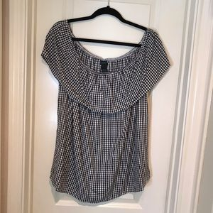NWT Rue21 Black/White Off the Shoulder Gingham Top